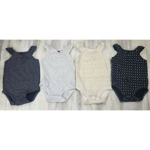Carter's Baby Girl Bodysuits Tanks Set 4pc Bundle